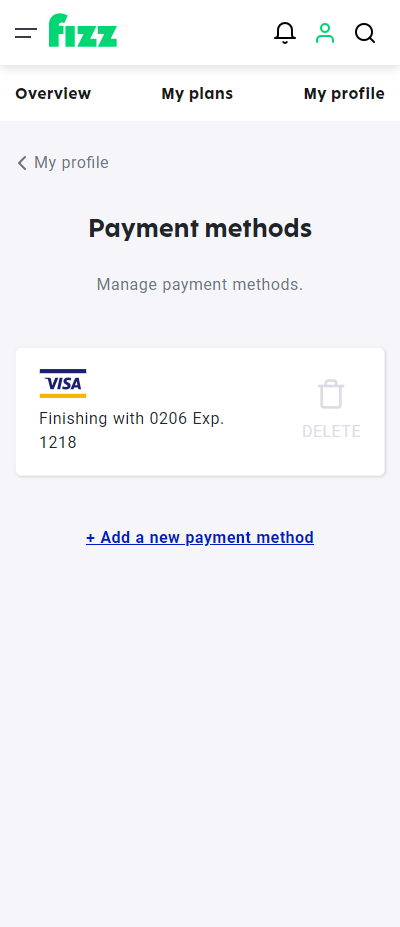 Screenshot: Payment methods