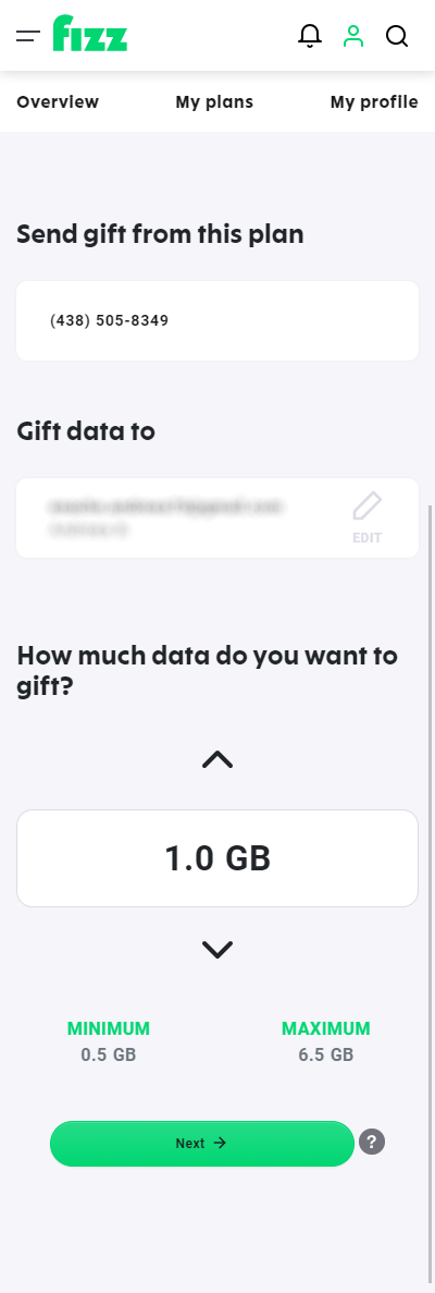 Screenshot: Choose how much data you want to gift