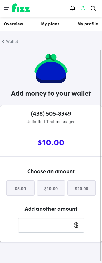 Screenshot: Add money to your wallet