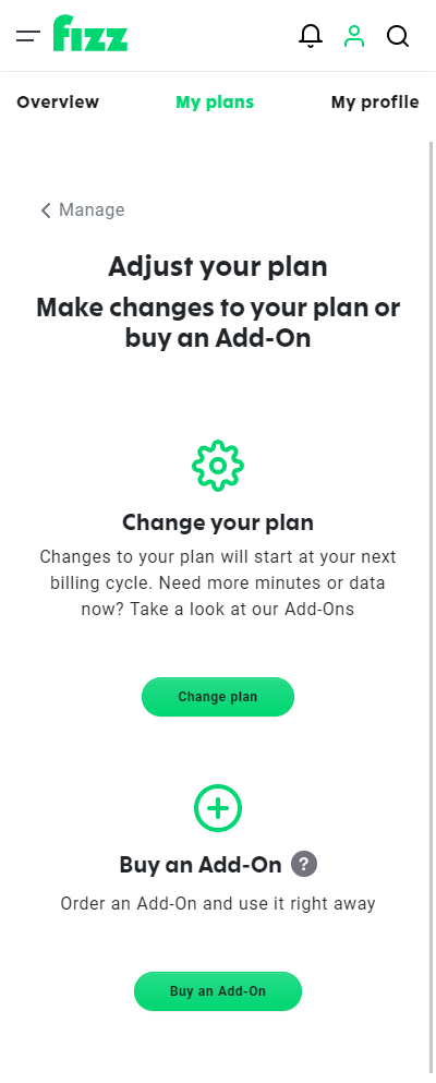 Screenshot: Make changes to your plan or buy an Add-On