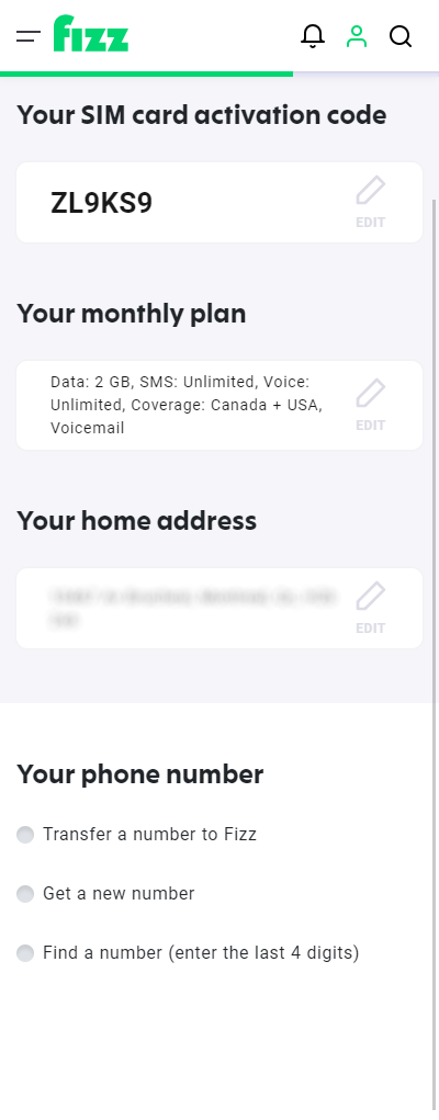 Screenshot: The three options you have to select or configure your phone number
