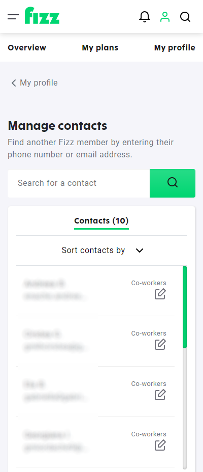 Screenshot: Manage contacts